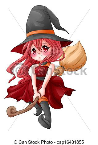Illustrations Of Pretty Witch   Cartoon Illustration Of A Cute Witch