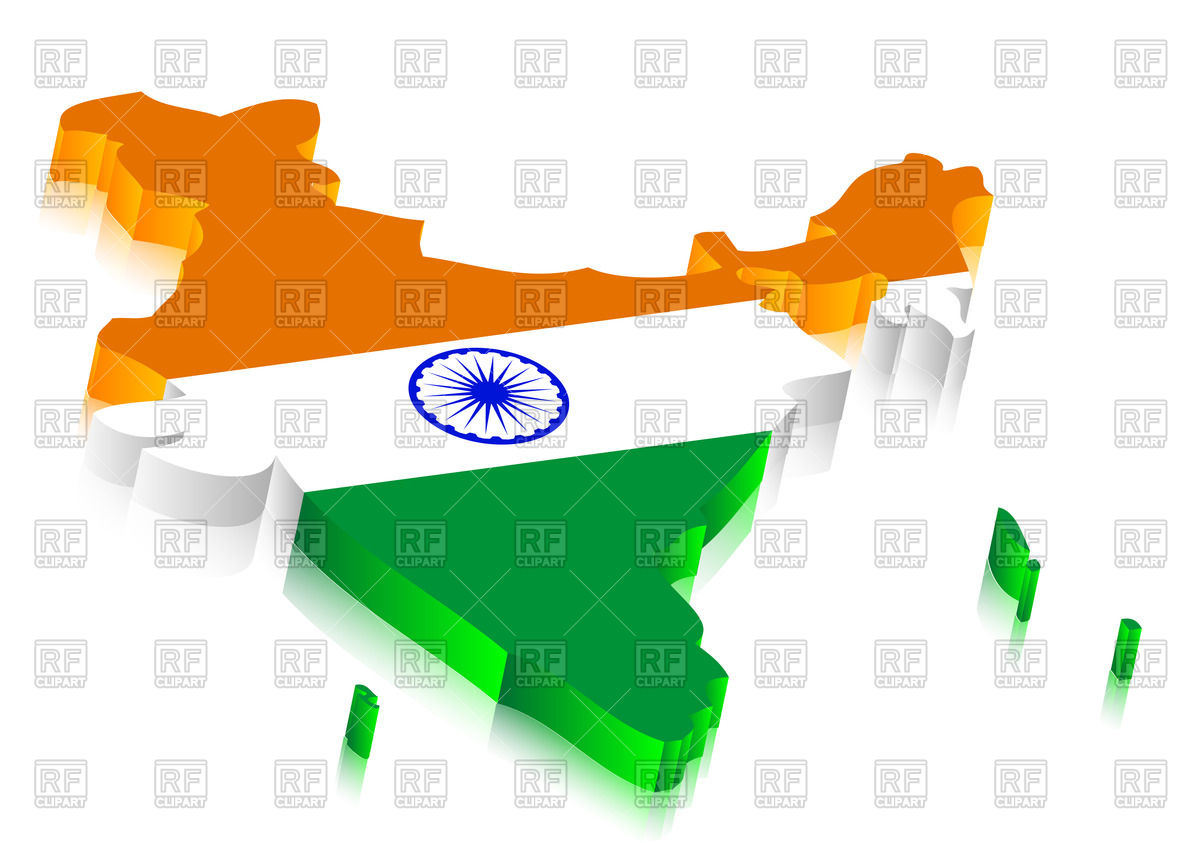 India On Contour Of India Map 3d Style 45347 Signs Symbols Maps