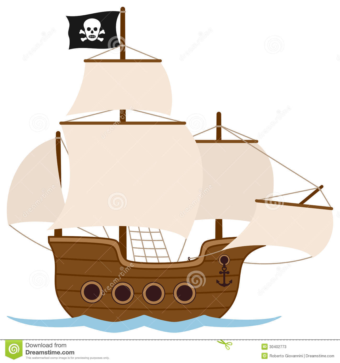 Old Pirate Ship  Or Sailing Boat Galley Galleon Caravel  Isolated