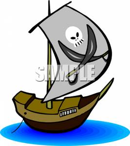 Pirate Ship With A Skull On Its Sail   Royalty Free Clipart Picture