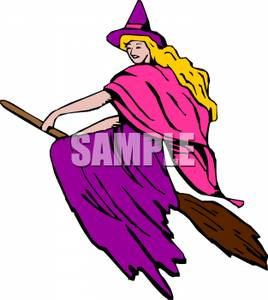 Pretty Witch Wearing Bright Colors Riding On Her Broomstick