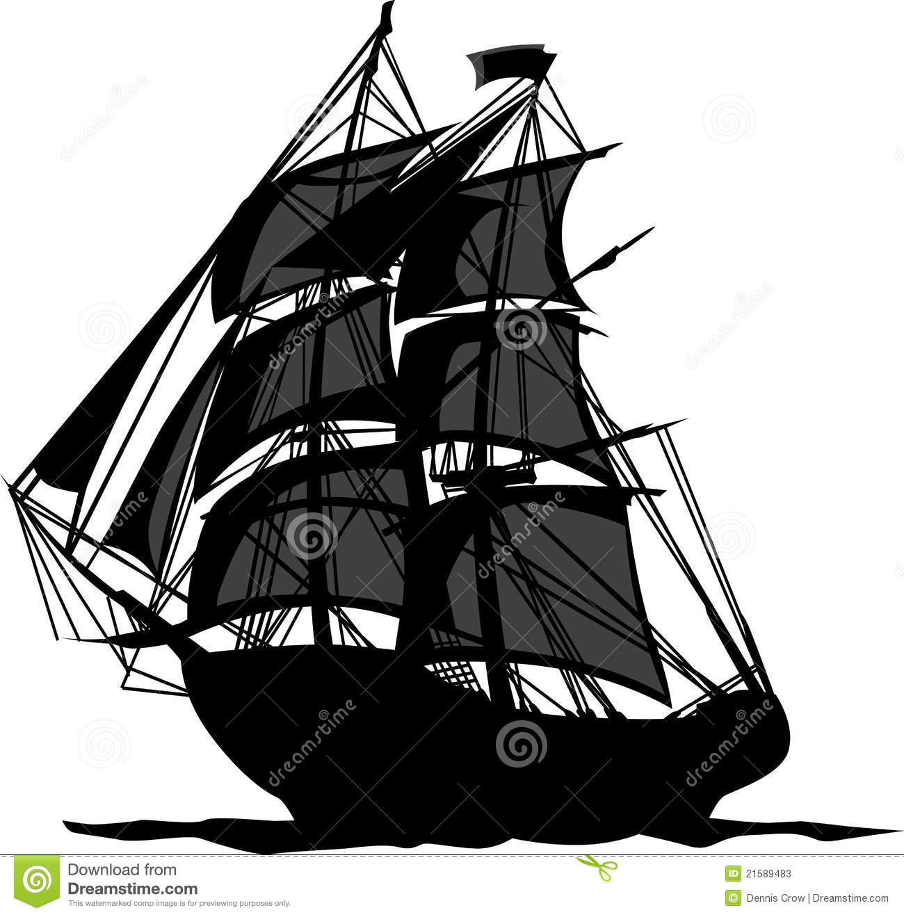 Sailing Pirate Ship With Sails Vector Graphic Image