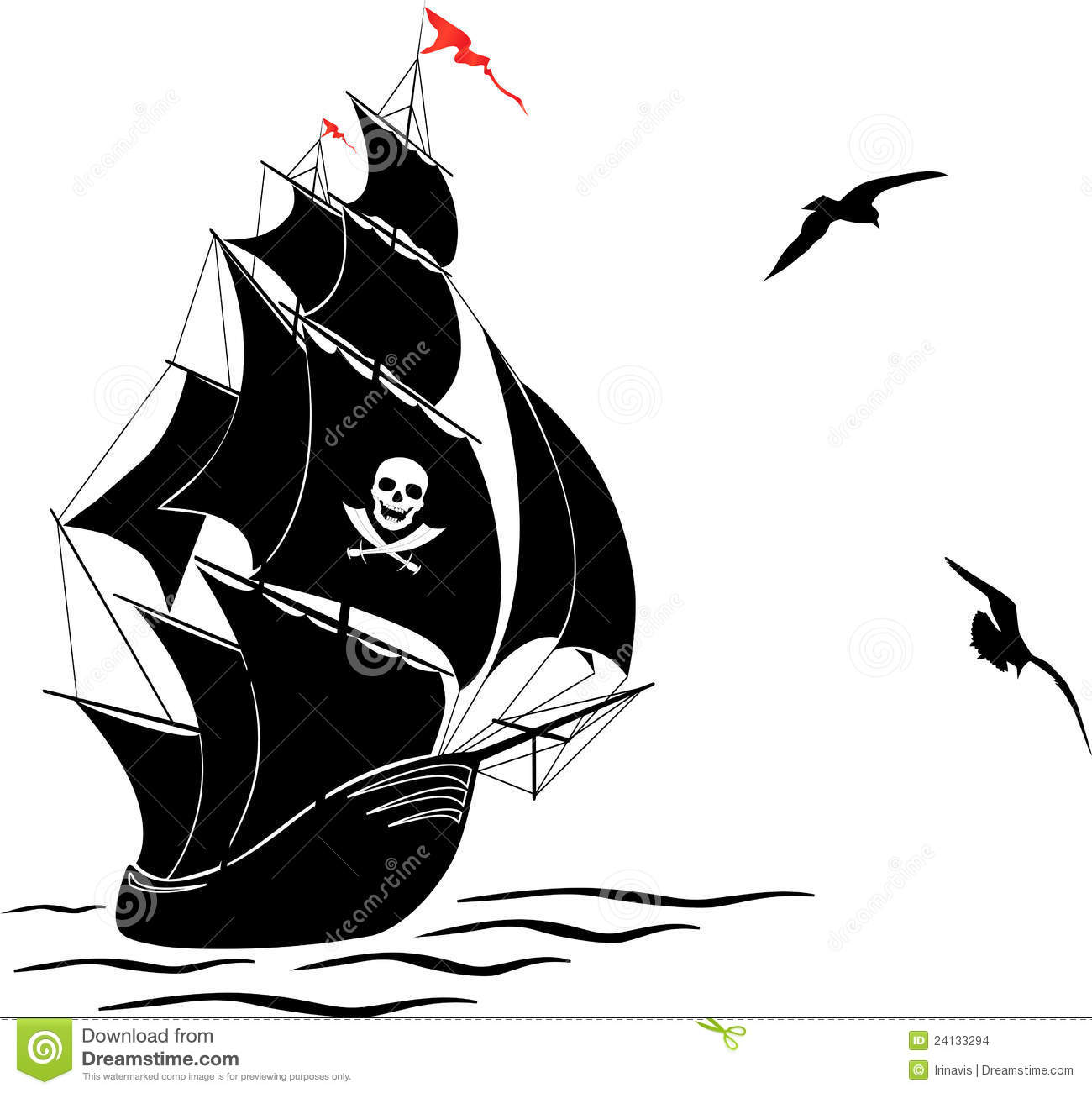 Silhouette Of A Old Sail Pirate Ship And Two Gulls Stock Images
