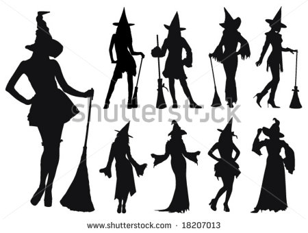 Silhouettes Of Sexy Witches  Vector    Stock Vector