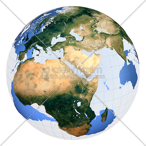 Stock Photo  Half Transparent Earth Globe View From Space Artistic