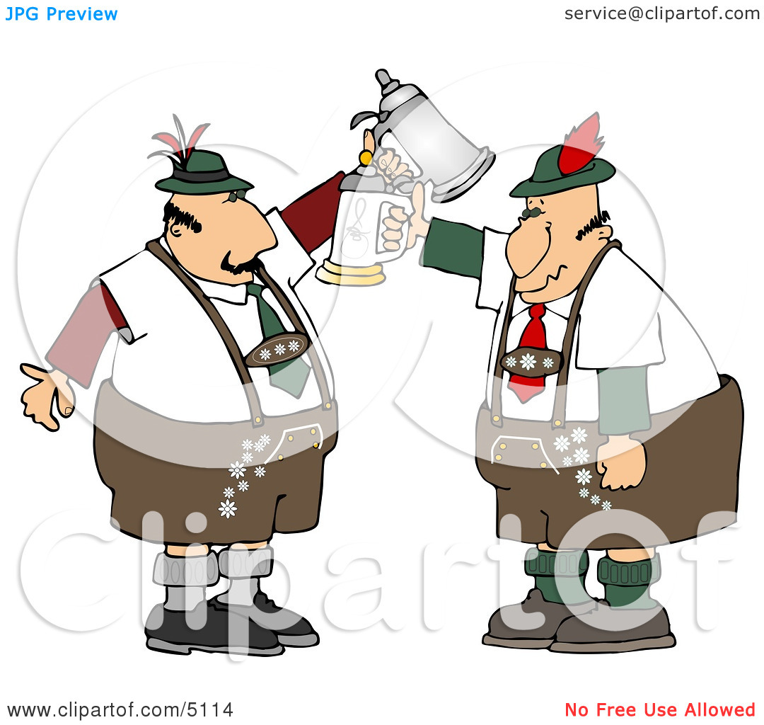 Two German Men With Beer Steins Celebrating Oktoberfest Clipart By
