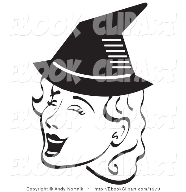 Vector Clip Art Of A Pretty Witch Woman Singing And Wearing A Pointy