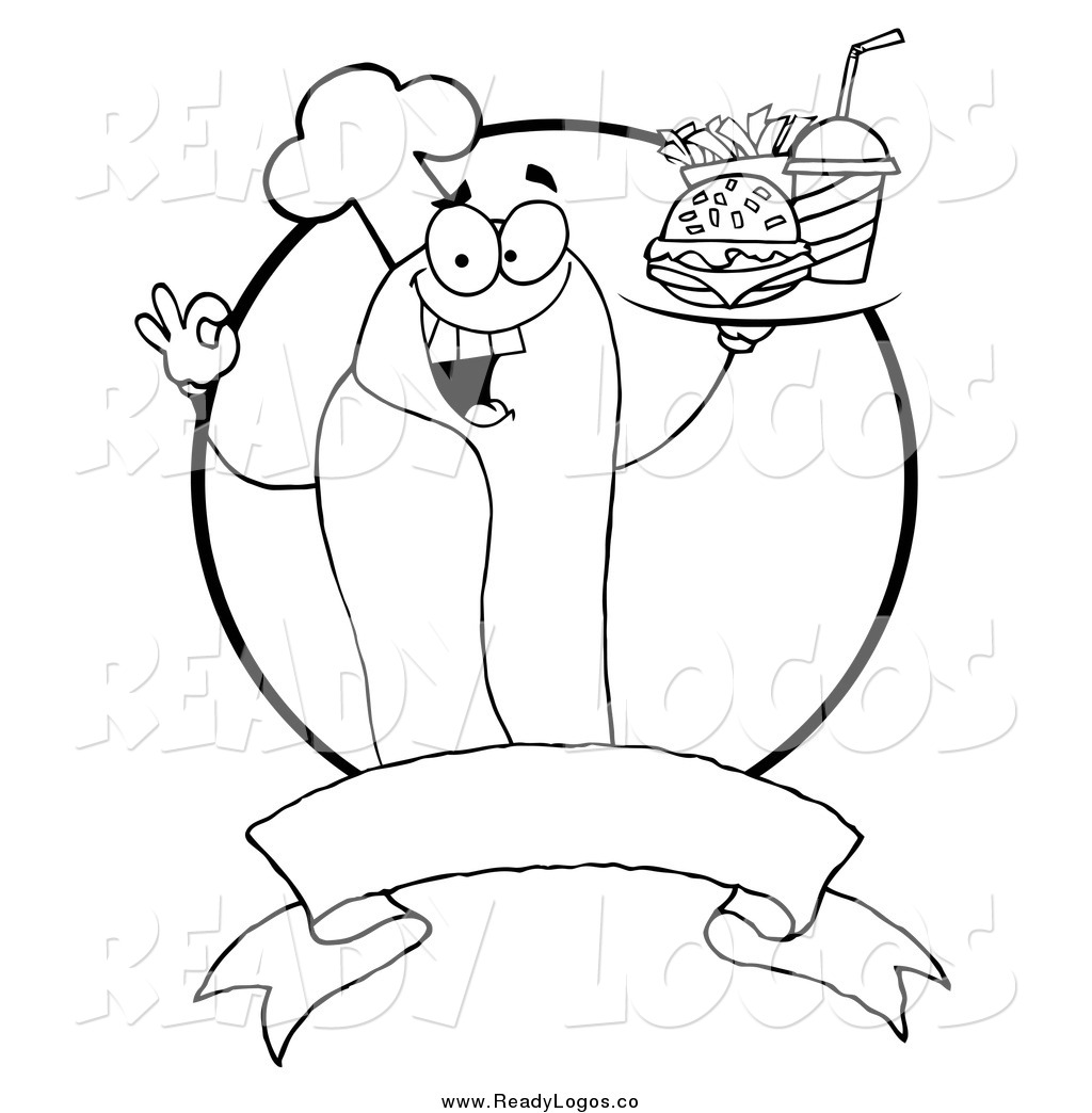 Vector Clipart Of A Black And White Hot Dog Chef Serving Fast Food