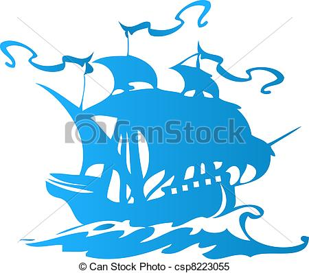 Vector   Sail Ship Or Pirate Ship   Stock Illustration Royalty Free