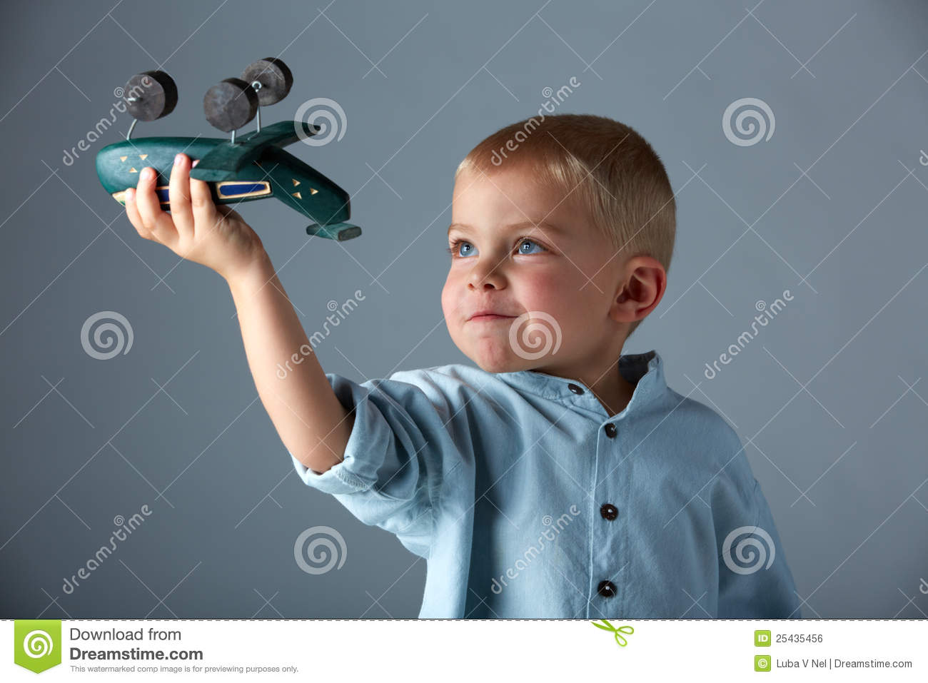 Young Boy With Wooden Airplane Royalty Free Stock Image   Image