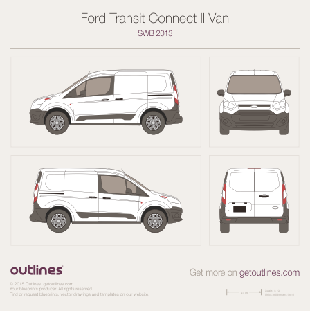 2013 Ford Transit Connect Drawings Outlines