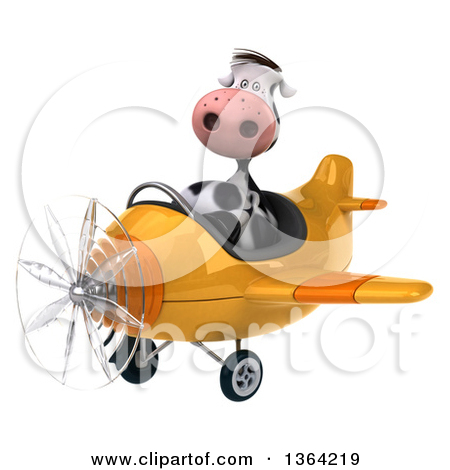 3d Cow Aviator Pilot Flying A Yellow Airplane On A White Background