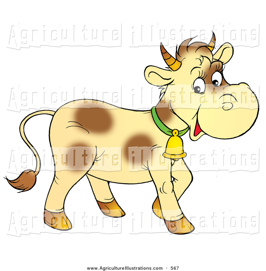 Agriculture Clipart Of A Pale Yellow Cow With Brown Spots Wearing A