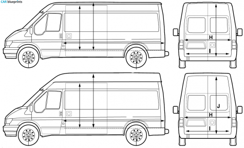 Car Blueprints   Ford Transit Lwb Blueprints Vector Drawings Clipart