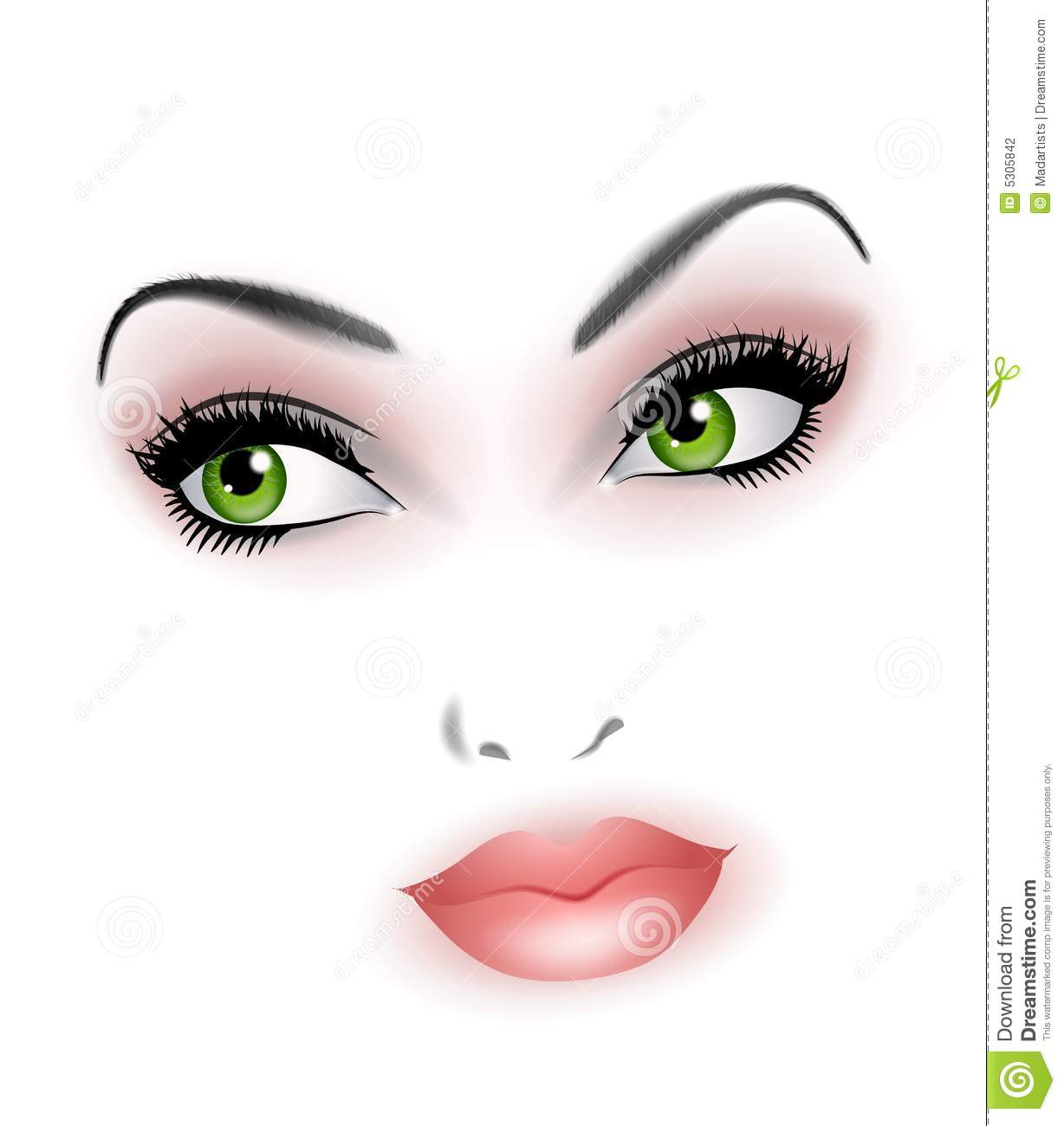 Clip Art Illustration Featuring The Facial Features Of A Beautiful