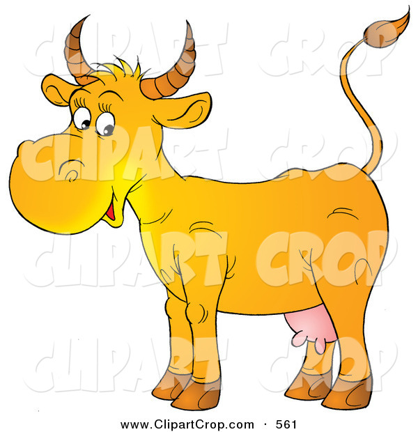 Clip Art Of A Happy Yellow Cow With Pink Udders Facing Left On White