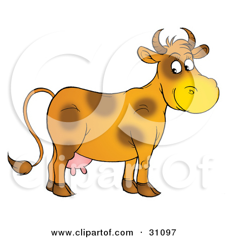 Clipart Illustration Of A Coloring Page Outline Of A Happy Cow By Alex