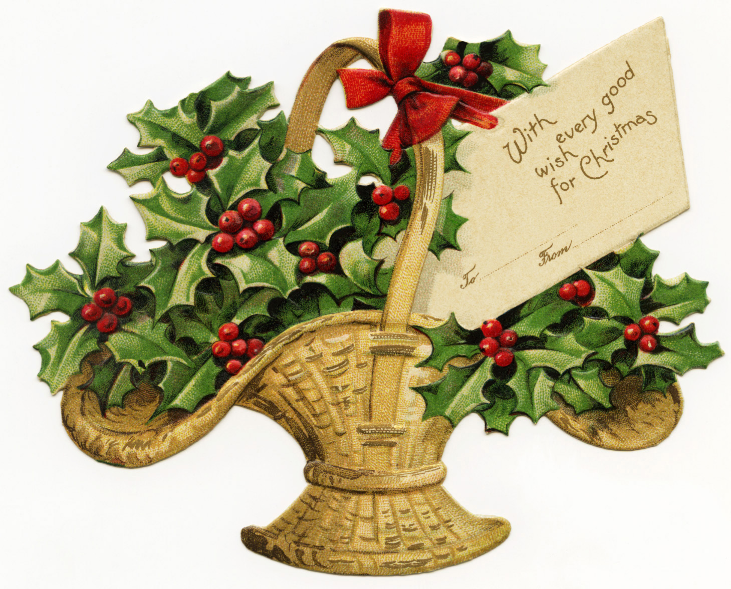 Free Digital Victorian Clipart   Basket Filled With Holly   Old Design