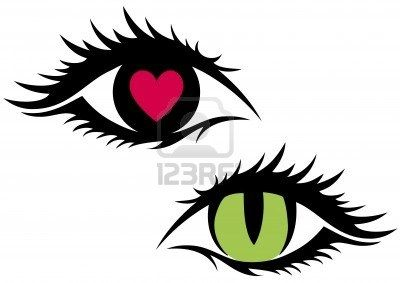 Green Cat Eye And Eye With Red Heart   Furbebe S   Pinterest