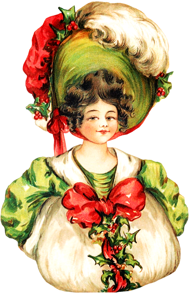 Victorian Christmas Woman Clipart