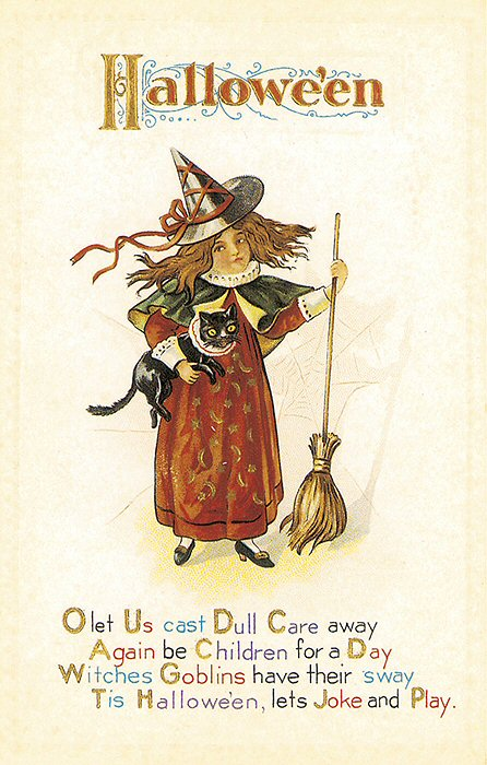Victorian Clipart Halloween Card Little Witch