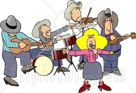 4347 Country Western Band Playing Country Music Clipart Jpg