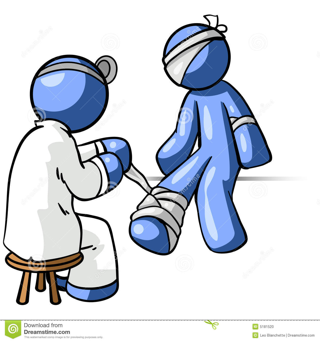 An Illustration Of Blue People Consisting A Doctor Treating His