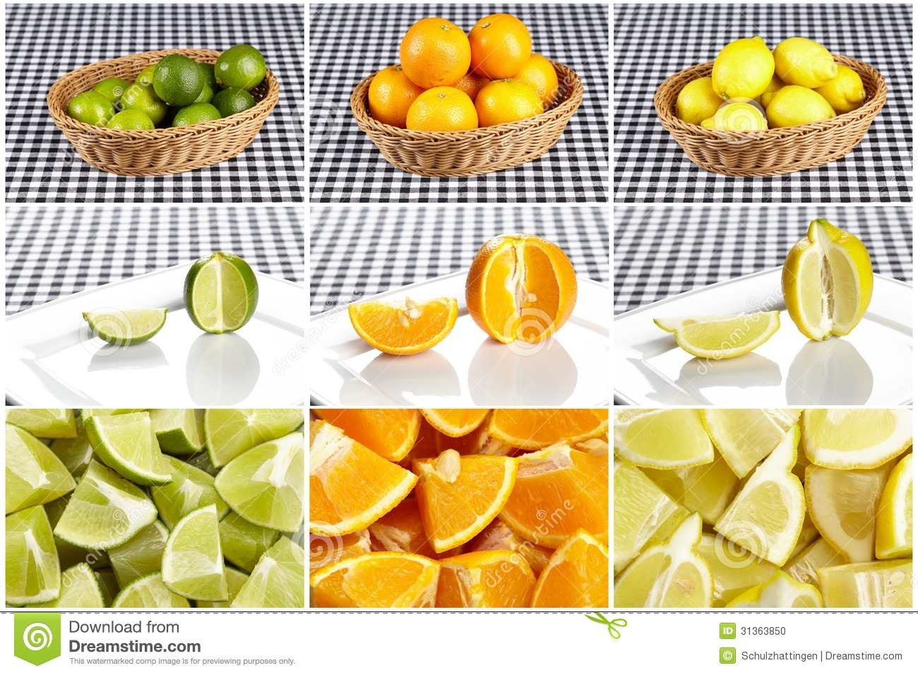Basket Of Citrus Fruits And Prepared Fruits  The Collage Is Showong