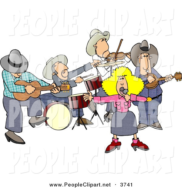 Clip Art Of A Country Western Band Playing Country Music At A Fair By