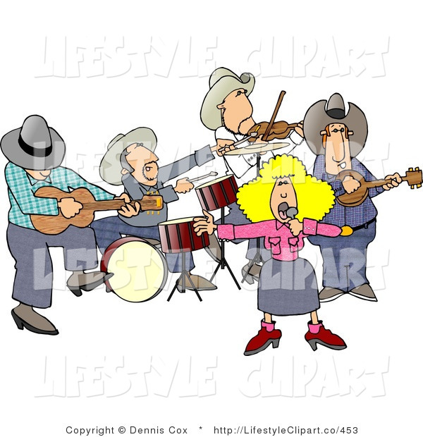 Clip Art Of A Country Western Band Playing Country Music On Stage By