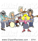 Clip Art Of A Country Western Band Playing Country Music Together By