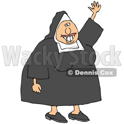 Clipart Illustration Of A Friendly White Lady Nun In Uniform Waving