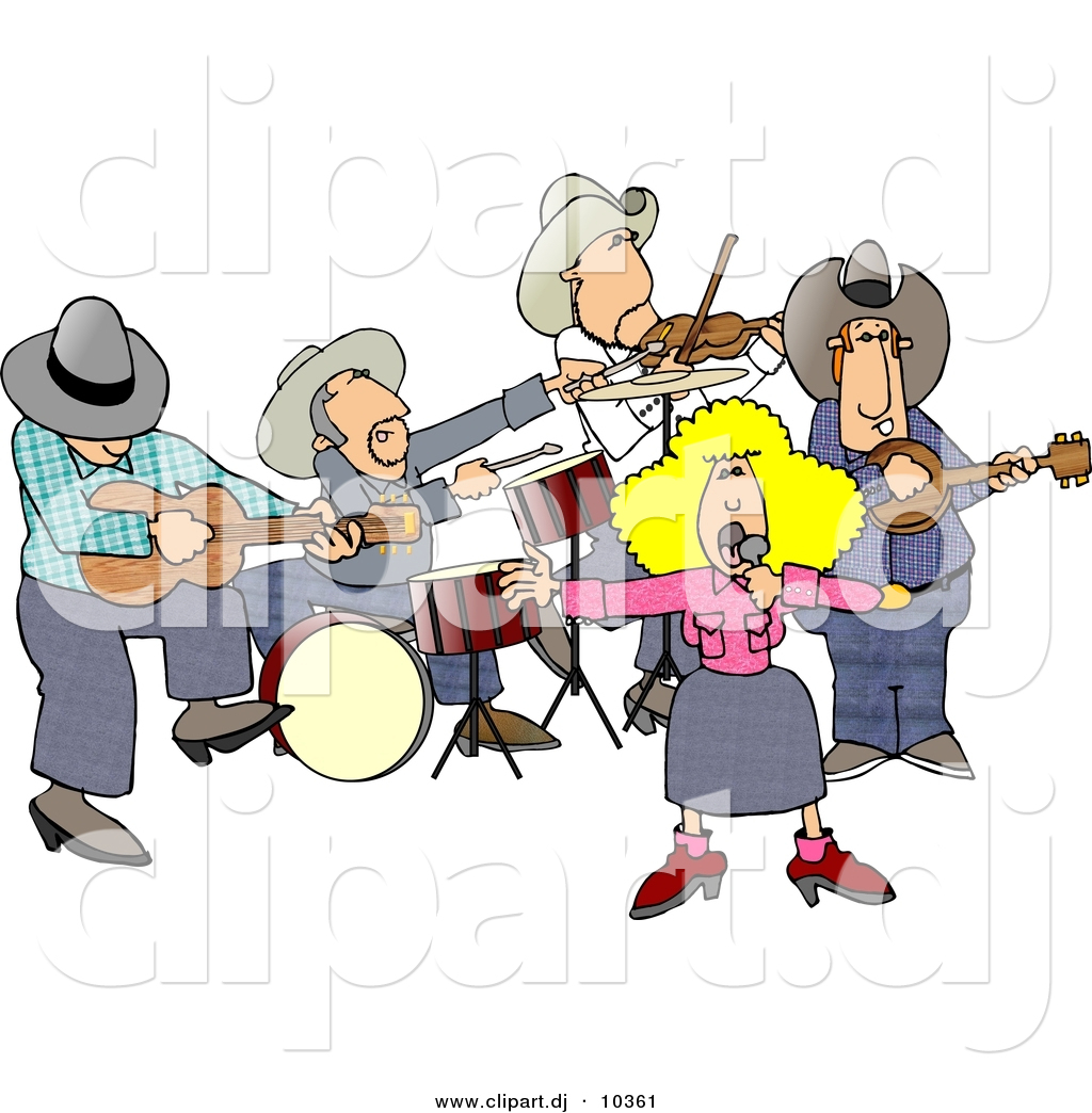 Clipart Of A Cartoon Country Western Band Playing Music By Djart