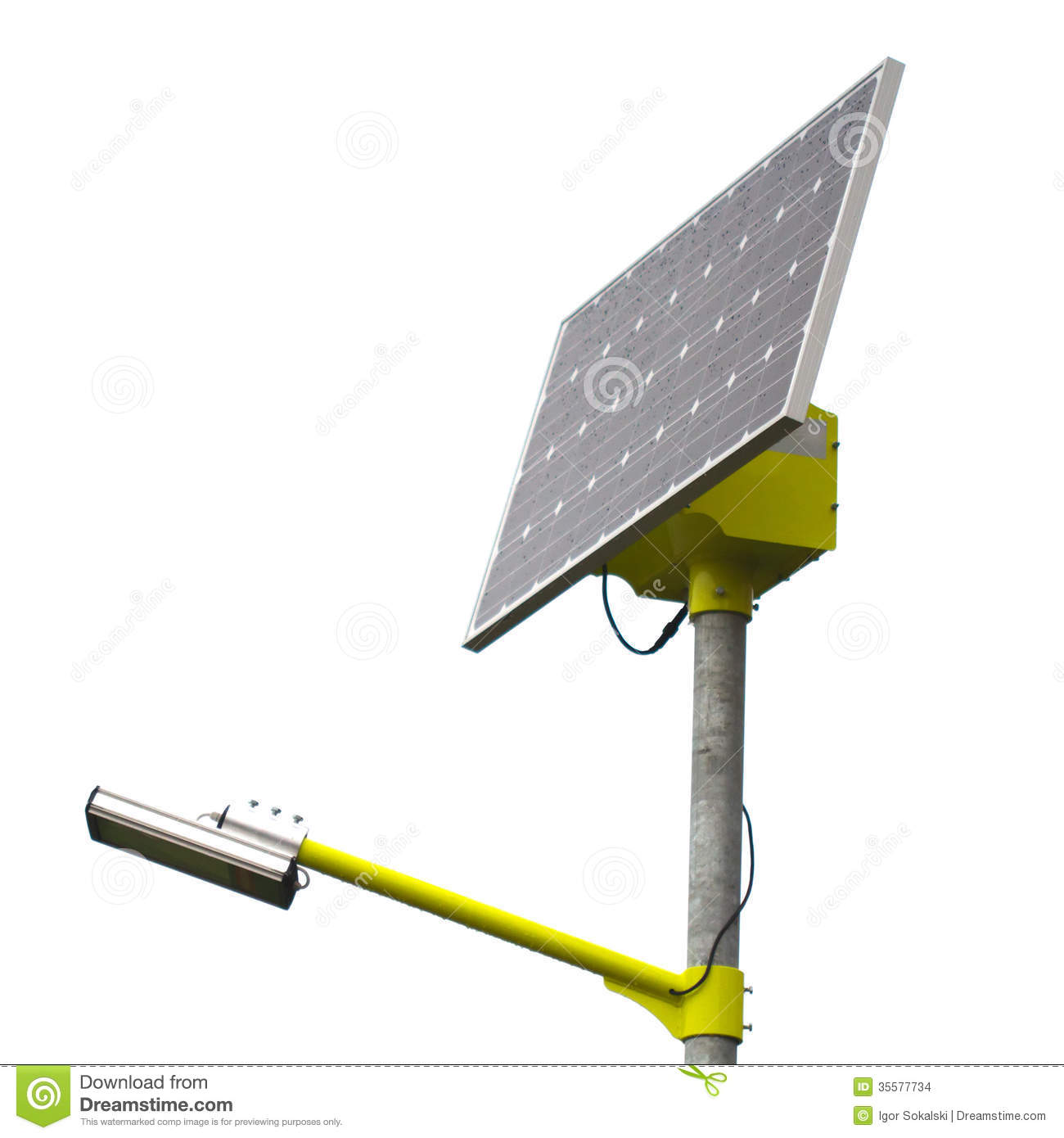 Closeup Of Solar Street Light Lamp Powered By A Solar Panel Generating