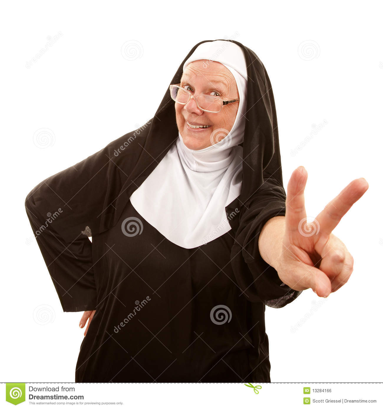 Funny Nun Making Peace Sign Royalty Free Stock Image   Image  13284166