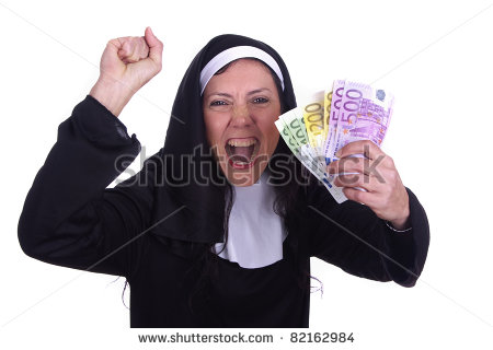 Irreverent Nun With A Funny Expression And Euro Currency On Her Hands