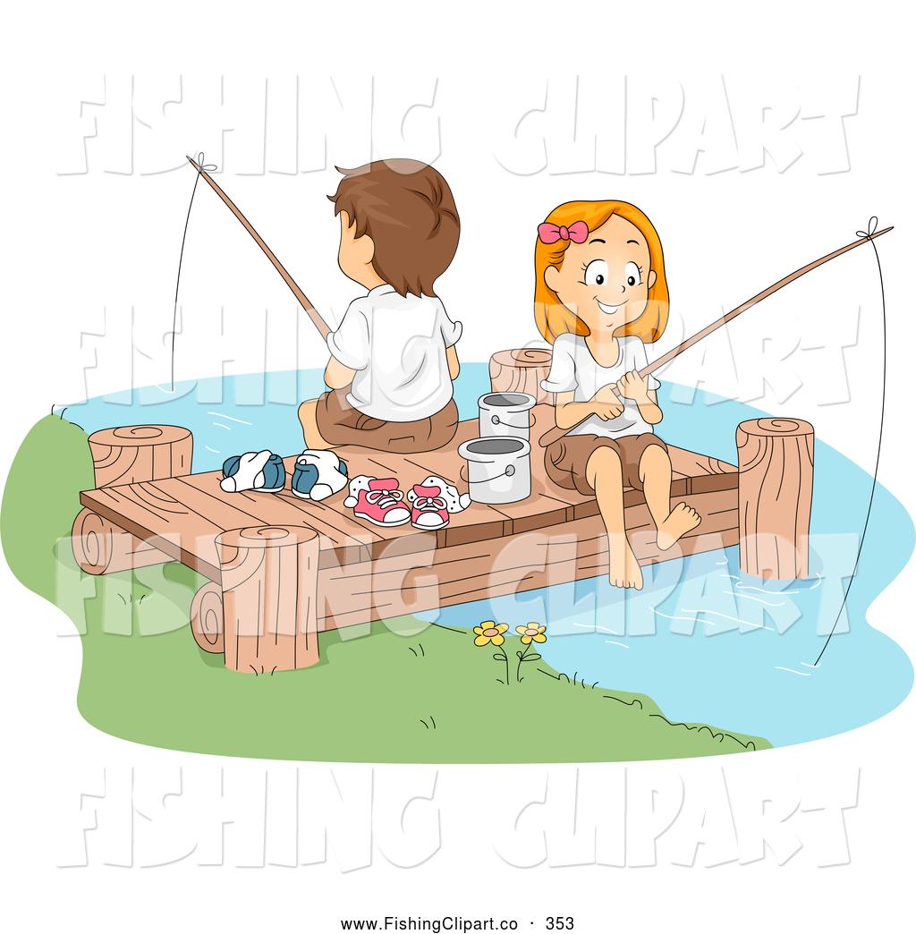 Kids fishing clip art