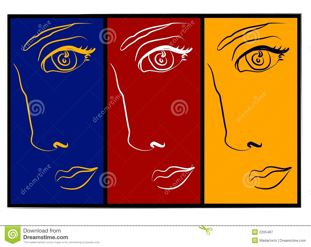 Moodswings   3 Faces Collage Royalty Free Stock Photography   Image