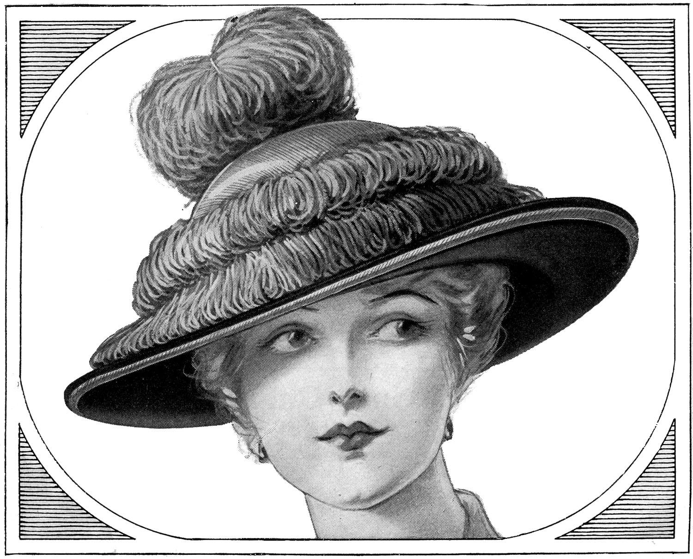 Antique Images: Free Women's Vintage Dress Hat Fashion ...  |Vintage Hat Art