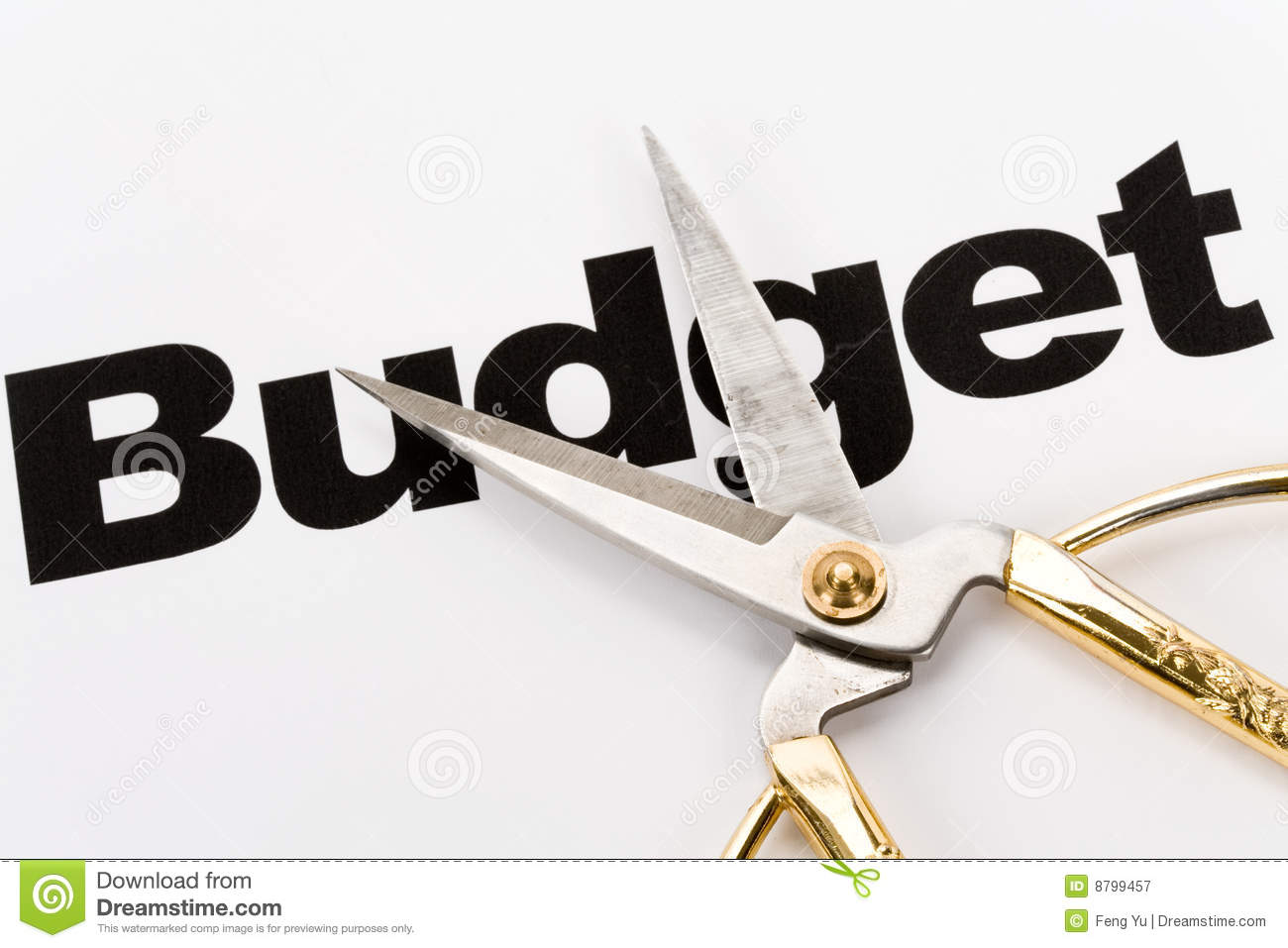 Text Of Budget And Scissors Concept Of Budget Cut