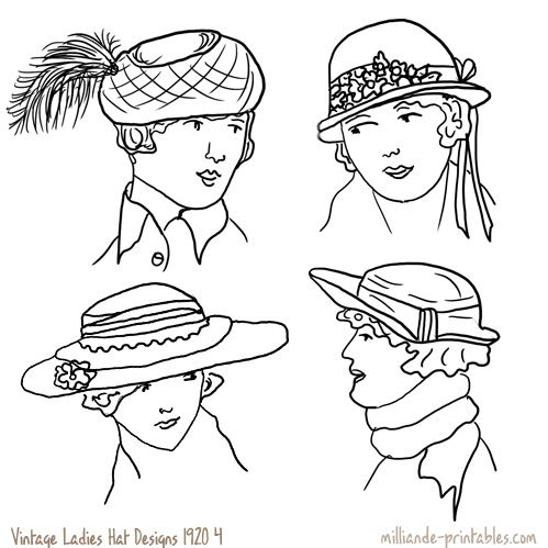 Vintage womens hat design 1920 html from our printable for Ladies hat coloring pages