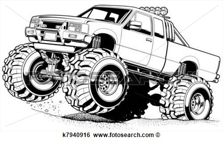 4x4 Truck  4 View Large Illustration