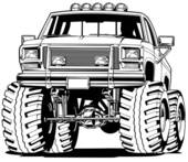 4x4 Truck Front View   Clipart Graphic