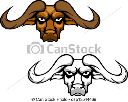 Buffalo Or Bull Head With Long Hornes    Csp13544469   Search Clipart