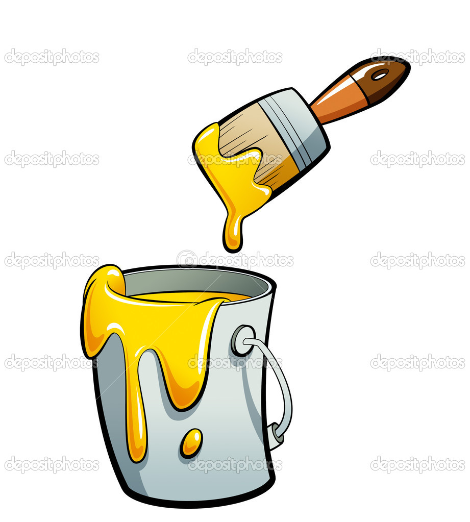 Cartoon Yellow Color Paint In A Paint Bucket Painting With Paint Jpg