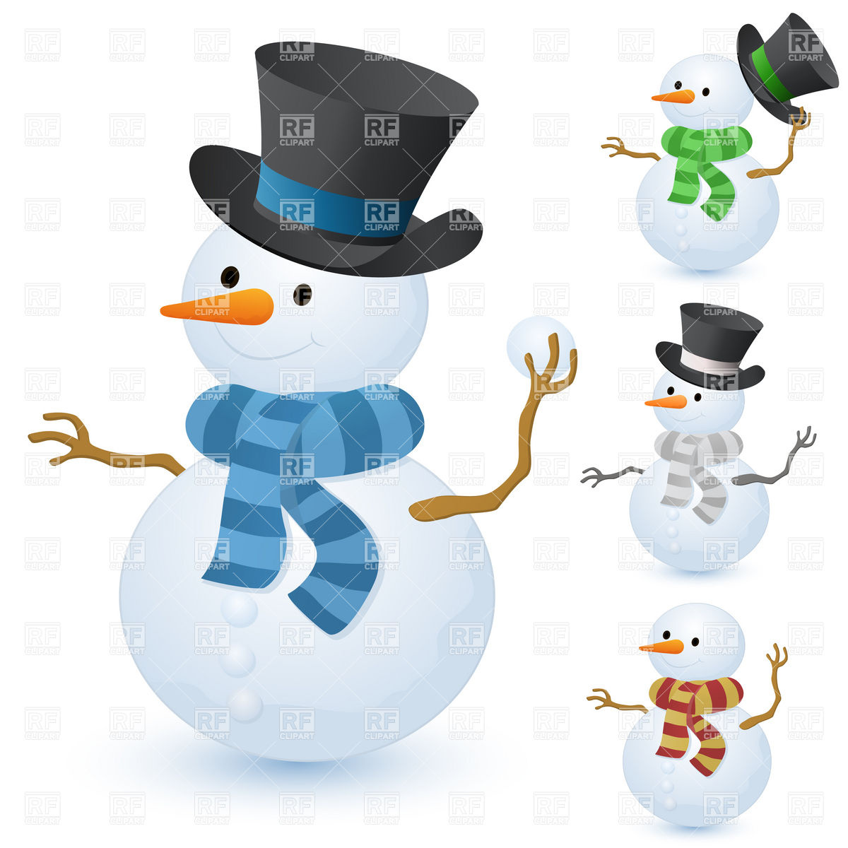 Christmas Snowman With Top Hat Holiday Download Royalty Free
