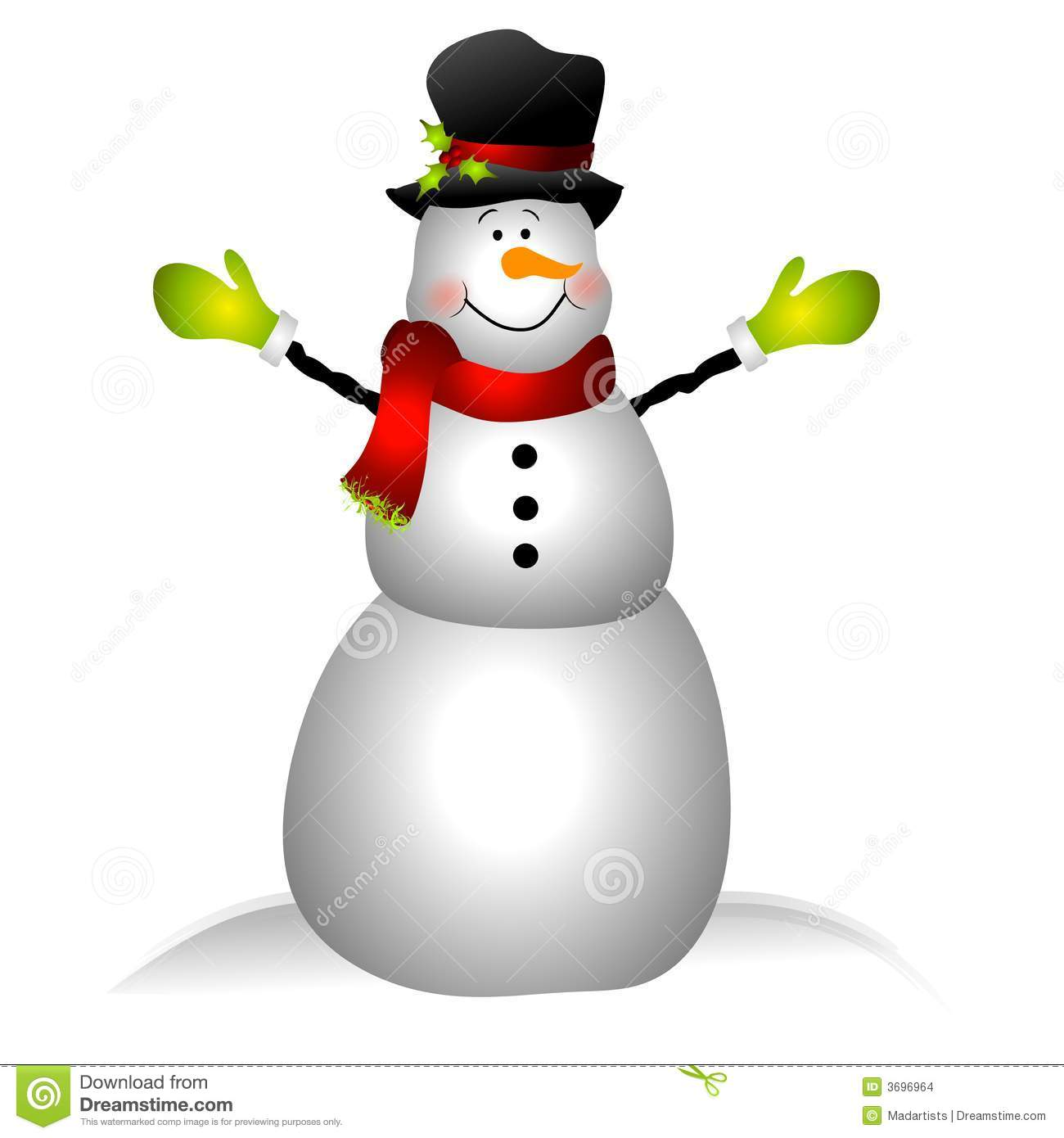 Clip Art Illustration Featuring A Snowman Dressed In Hat Scarf