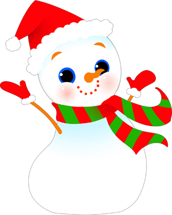Clip Art Of A Grinning Snowman With A Red Santa Hat Wearing A Colorful