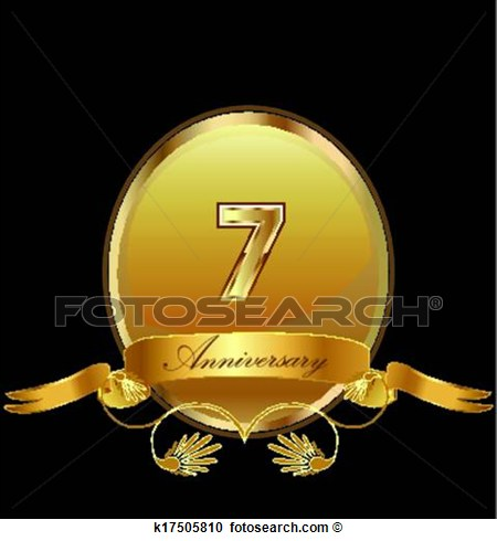 Clipart   7th Anniversary Birthday Seal  Fotosearch   Search Clip Art