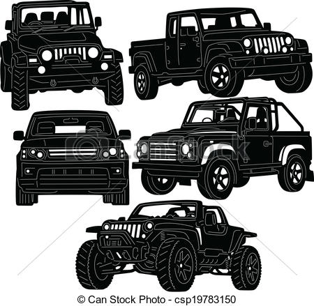Clipart Vector Of 4x4 Truck Silhouette   Great Illustration Of 4x4